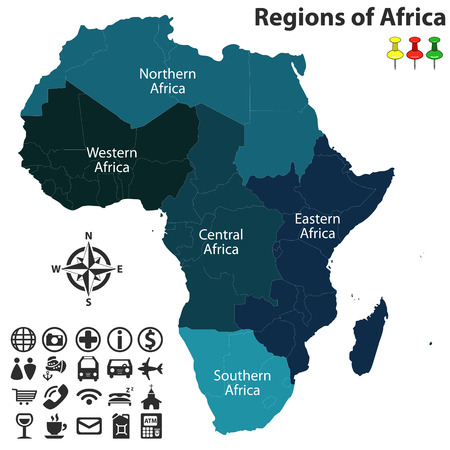 libya: map of regions of Africa with icons.