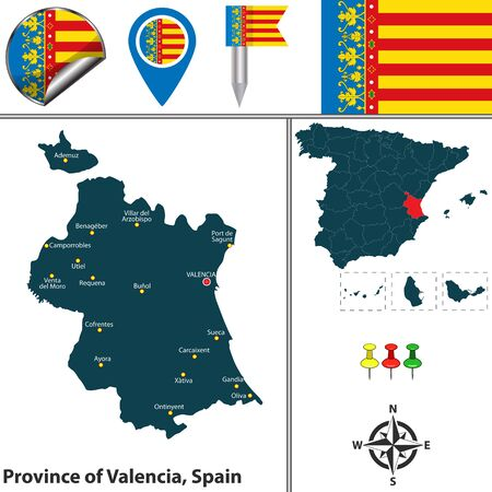Vector map of province of Valencia with flags and icons.