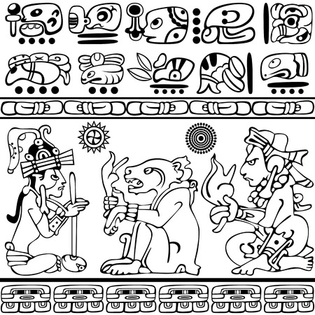 mesoamerican: Vector of set of ancient American ornaments on white.