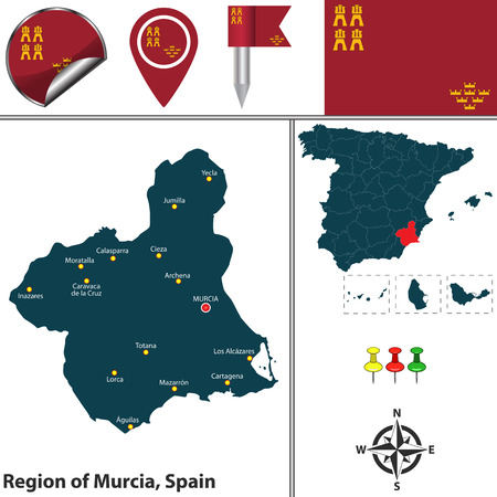 Vector map of Region of Murcia with flags and icons.