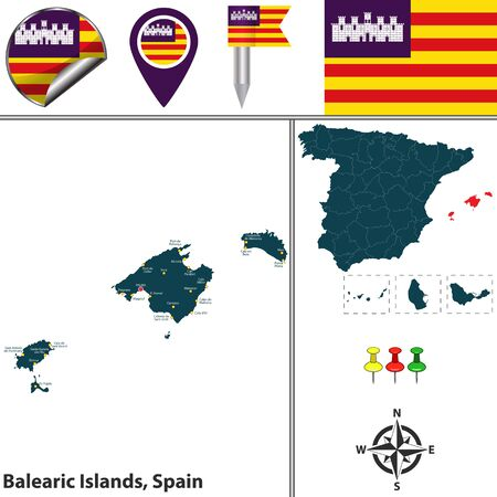 majorca: Vector map of Balearic Islands with flags and icons.