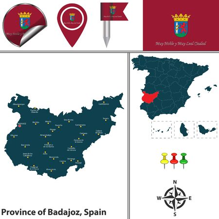 Vector map of province of Badajoz with flags and icons. Ilustrace
