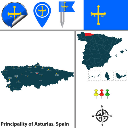 aviles: Vector map of principality of Asturias with flags and icons.