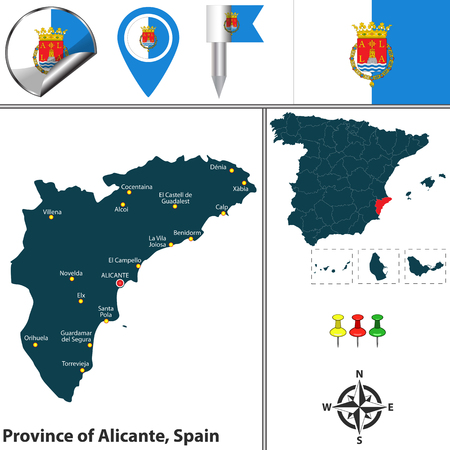 Vector map of province of Alicante with flags and icons.