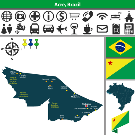Vector map of Acre region with flags and location on Brazilian map. Map contains parks: Parque Estadual Chandless, Reserva Extrativista do Alto Jurua and Parque Nacional da Serra do Divisor Ilustração