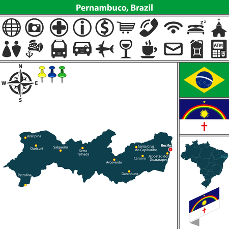 Vector map of region of Pernambuco with flags and location on Brazilian map Ilustração