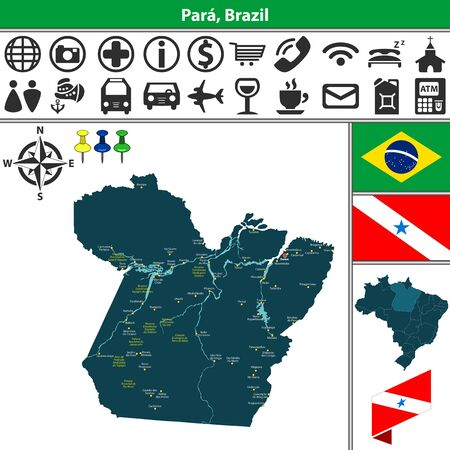 belem: Vector map of region of Para with flags and location on Brazilian map