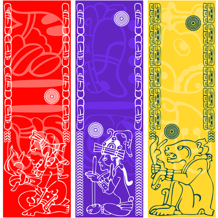 Vector banners with ancient American ornaments