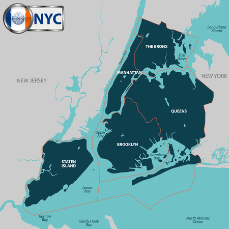 hudson river: Vector map of boroughs of New York City