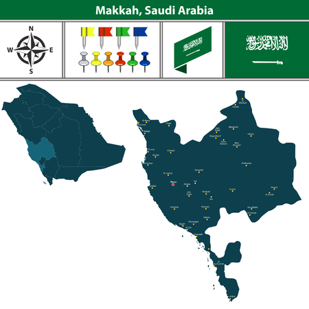 Vector map of Makkah region with flag, icons and location on Saudi Arabian map.