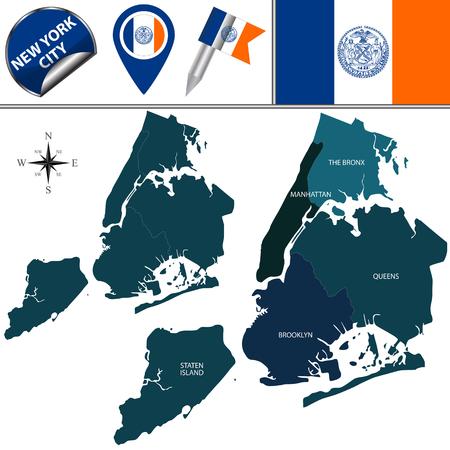 ニューヨーク市の自治区のベクター マップ