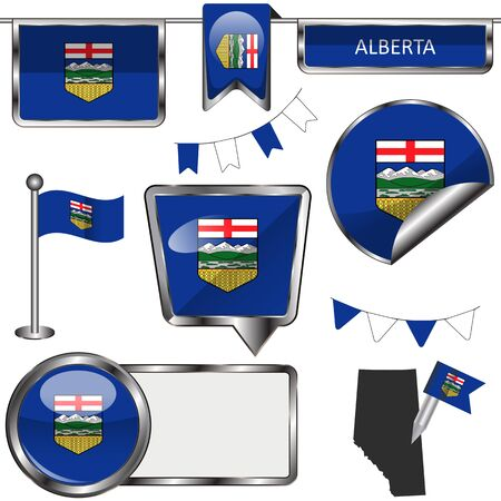 Vector glossy icons of flag of province Alberta on white