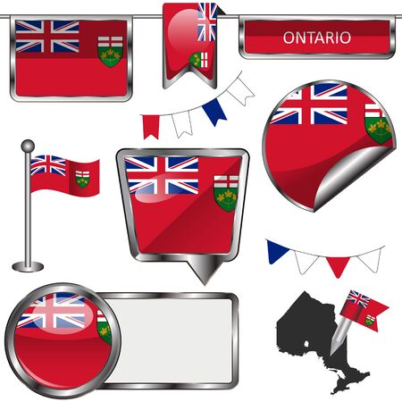 Vector glossy icons of flag of province Ontario on white Ilustrace