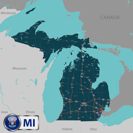 Vector set of Michigan state with roads map, cities and neighboring states