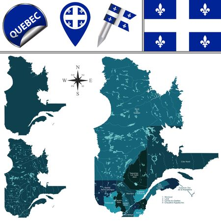 Vector map of regions of Quebec, Canada