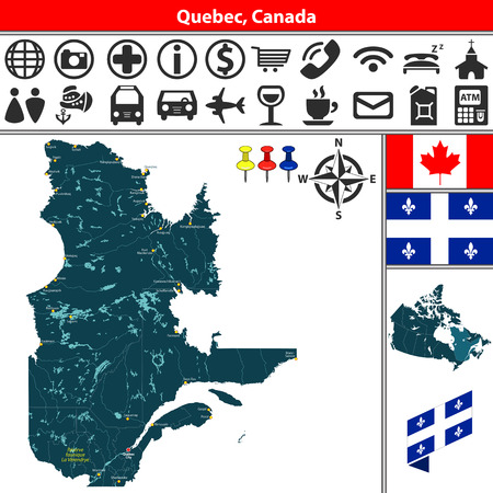 Vector map of regions of Quebec (Canada) with lakes, cities and travel icons. Çizim