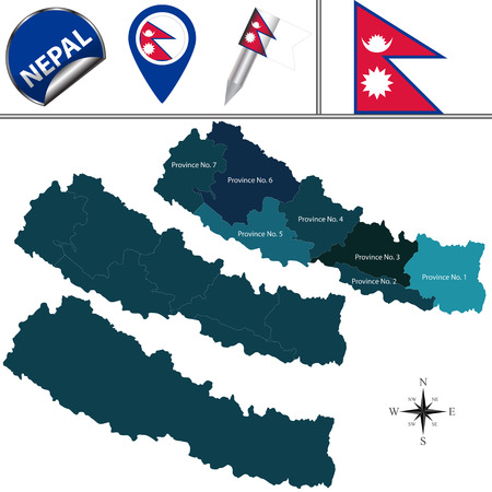 Vector map of Nepal with named provinces and travel icons Иллюстрация
