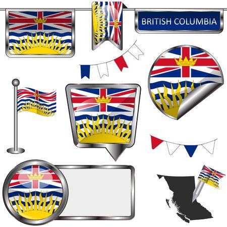 흰색에 지방 브리티시 컬럼비아의 국기의 벡터 광택 아이콘