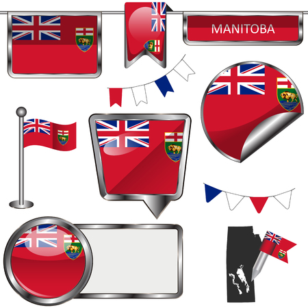 Vector glossy icons of flag of province Manitoba on white Illustration