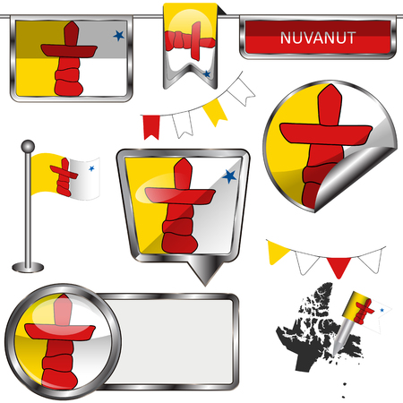 Vector glossy icons of flag of province Nunavut on white Illustration