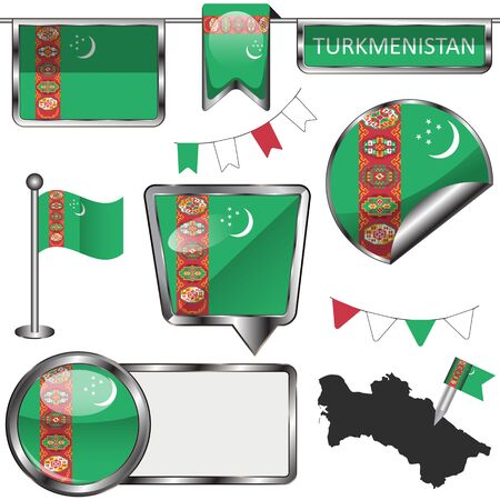 Vector glossy icons of flag of Turkmenistan on white