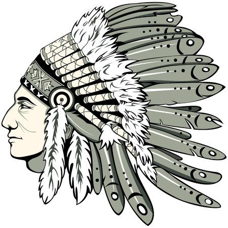 아메리칸 인디언의 전통적인 수석 머리 장식 가진 남자의 벡터. Boho 스타일.