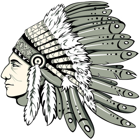 Vector of man with traditional chief headdress of American Indian. Boho style. Illustration
