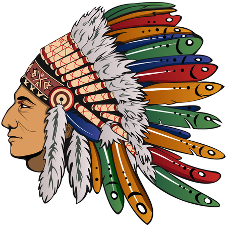 Vector of man with traditional chief headdress of American Indian. Boho style. Иллюстрация
