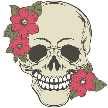 Vector of human skull with red flowers in retro style