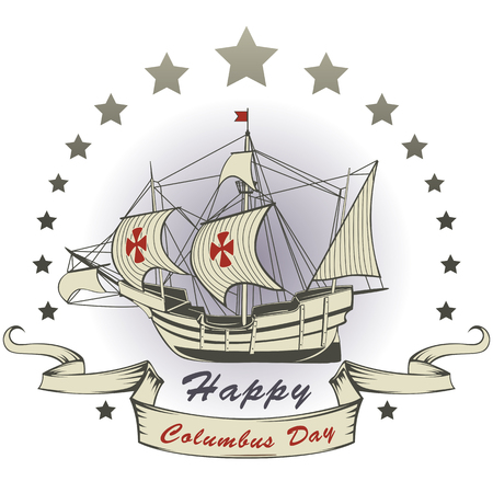 Vector of Happy Columbus day greeting card with stars and ribbon Illustration