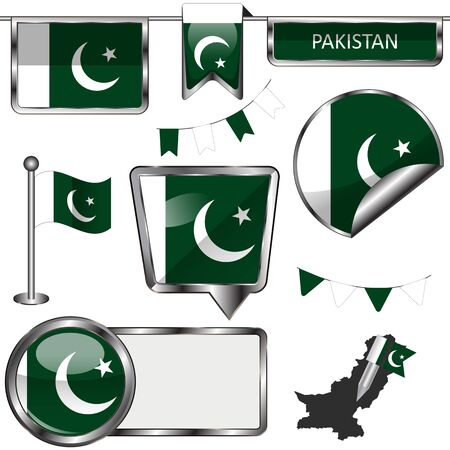 Vector glossy icons of flag of Pakistan on white Illustration