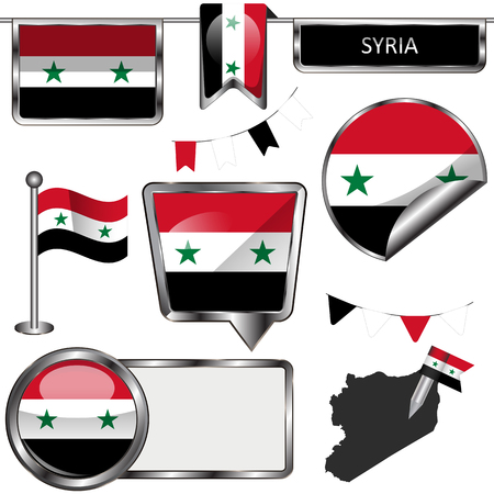 Vector glossy icons of flag of Syria on white