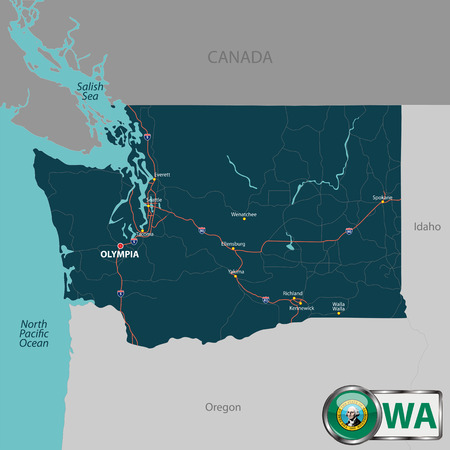 Vector set of Washington state with roads map, cities and neighboring states Illustration
