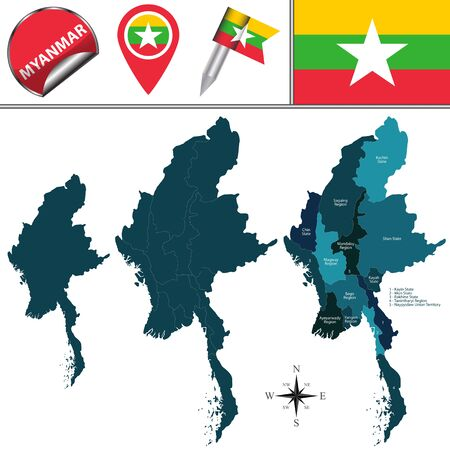 Vector map of Myanmar with named divisions  and travel icons