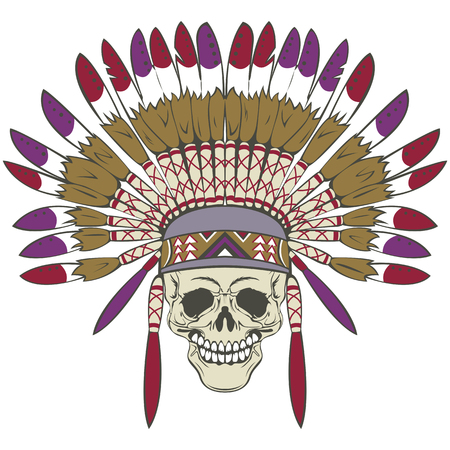 Vector of human skull with indian headdress in retro style Illustration