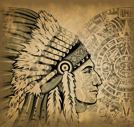 Aztec calendar and face of the man with traditional headdresses on old paper