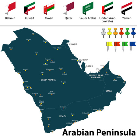Vector map of Arabian Peninsula with countries, big cities and icons
