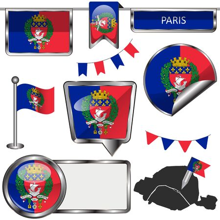 Vector glossy icons of flag of Paris on white