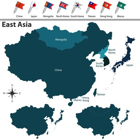 Vector of political map of East Asia set with flags on white background