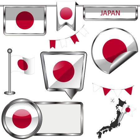 Vector glossy icons of flag of Japan on white
