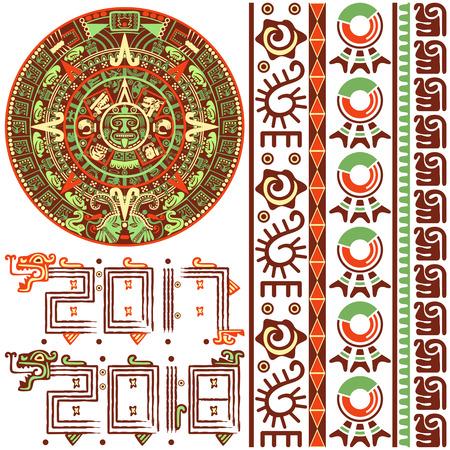 Vector of Aztec calendar with native ornaments Vetores