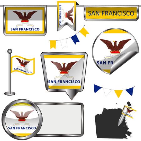 サンフランシスコの白い背景の上の旗の光沢のあるアイコンをベクトルします。