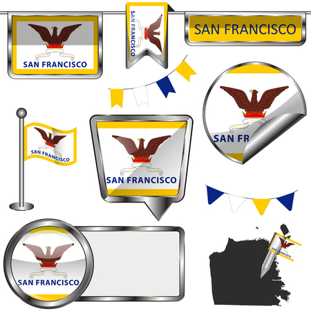 Vector glossy icons of flag of San Francisco on white background.