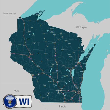 Vector set of Wisconsin state with roads map, cities and neighboring states. Ilustração