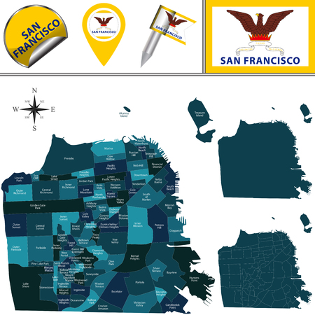 Vector map of San Francisco with named districts and travel icons.