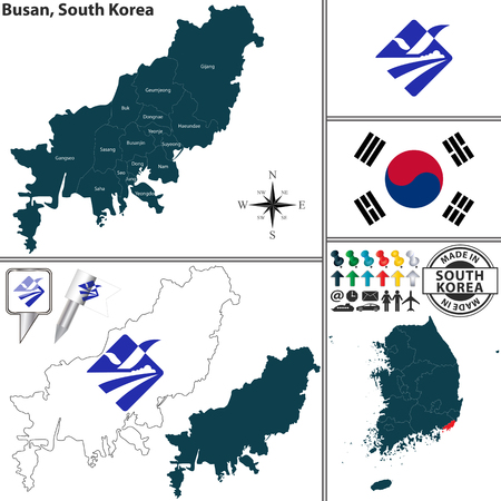Vector map of Busan - Metropolitan City with flags and location on South Korean map