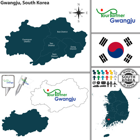 Vector Map Of Province Of North Chungcheong With Flags And Location