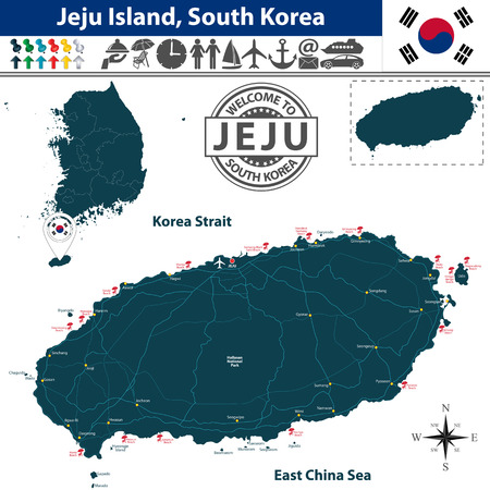 Vector of Jeju island, South Korea. Map contains beaches, roads and travel icons