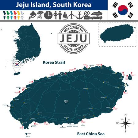 Vector van Jeju eiland, Zuid-Korea. Kaart bevat stranden, wegen en reispictogrammen