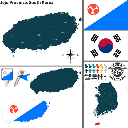 Vector map of province of Jeju with flags and location on South Korean map Ilustração